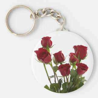 Long Stem Red Roses Basic Round Button Keychain