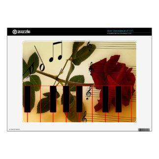Long Stem Rose, Piano Keys and Musical Notes Acer Chromebook Skins