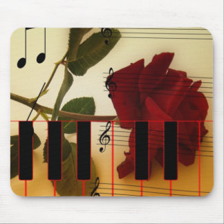 Long Stem Rose, Piano Keys and Musical Notes Mouse Pads