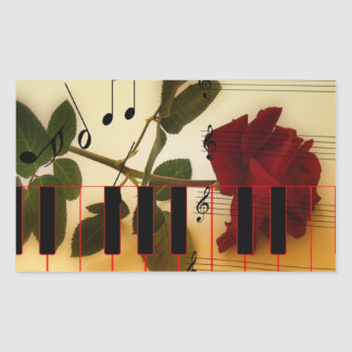 Long Stem Rose, Piano Keys and Musical Notes Rectangular Sticker