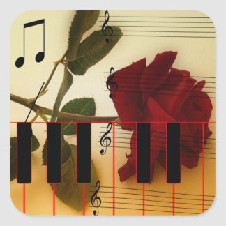 Long Stem Rose, Piano Keys and Musical Notes Square Sticker