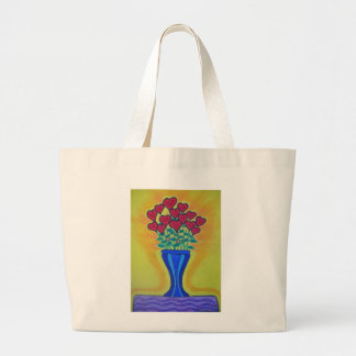 Long-stemmed Hearts in Blue Vase Canvas Bags