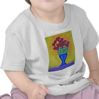 Long-stemmed Hearts in Blue Vase Tee Shirts