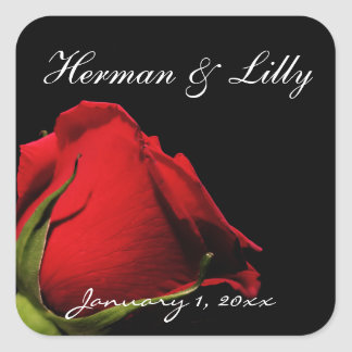 Long Stemmed Red Rose Personalized Wedding Square Sticker