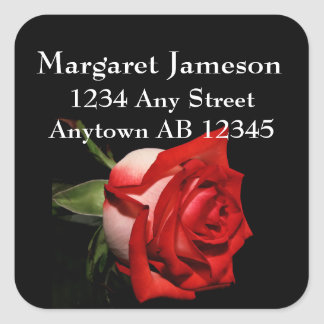 Long Stemmed Red Rose Wedding Return Address Label