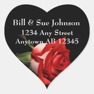 Long Stemmed Red Rose Wedding Return Address Heart Sticker