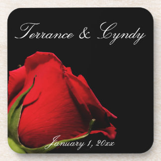 Long Stemmed Red Roses Personal Wedding Coaster