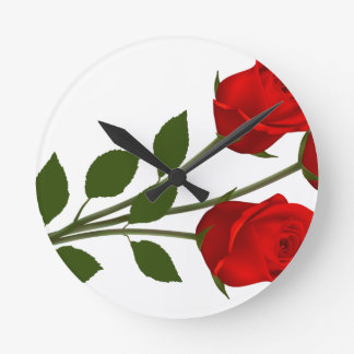 Long Stemmed Roses Round Clock