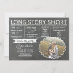 "Long Story Short | Funny | Photo Save the Date<br><div class=""desc"">Funny photo save the date card """"Long Story Short"" in a chalkboard drawing style - a unique way to announce your wedding</div>"