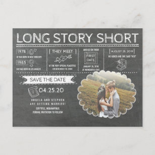 Long Story Short Funny Photo Save The Date Announcement Postcard