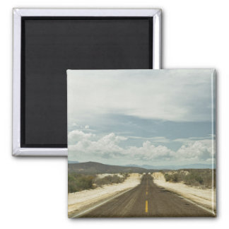 Long Straight Road Through Mexican Baja Landscape 2 Inch Square Magnet