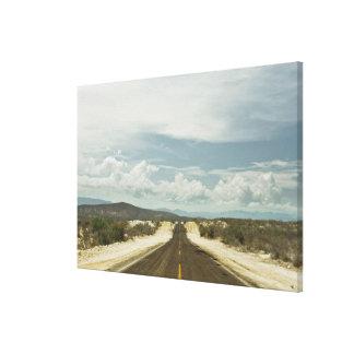 Long Straight Road Through Mexican Baja Landscape Canvas Print