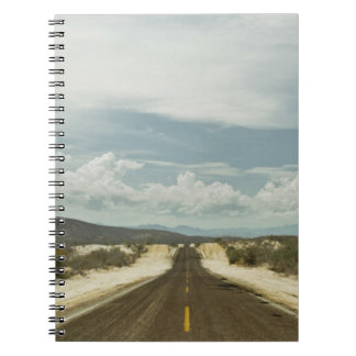 Long Straight Road Through Mexican Baja Landscape Notebook