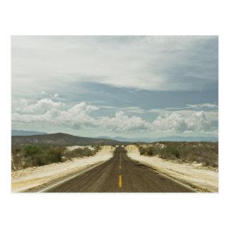 Long Straight Road Through Mexican Baja Landscape Postcard