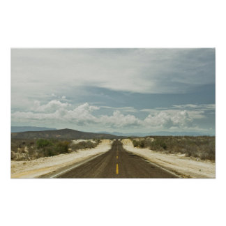 Long Straight Road Through Mexican Baja Landscape Poster