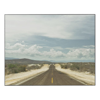 Long Straight Road Through Mexican Baja Landscape Wood Print