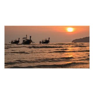 Long-tail boats photo card