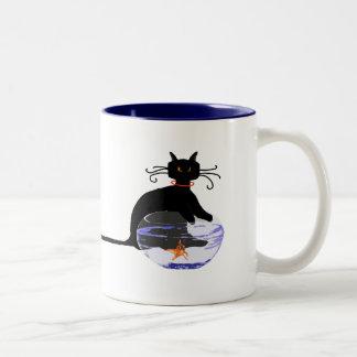 Long Tail Cat Gone Fishin' Two-Tone Coffee Mug