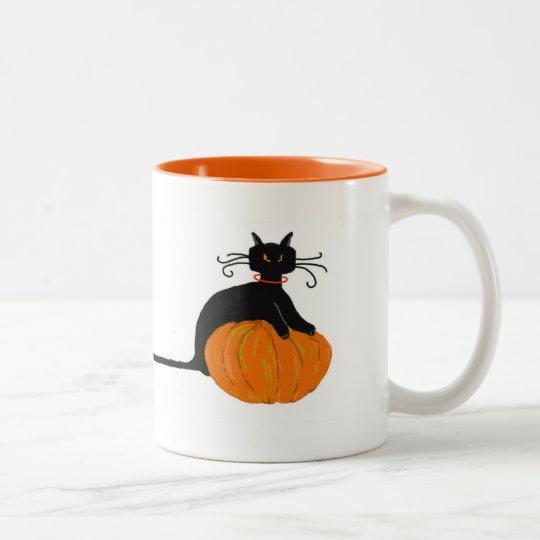 Long Tail Halloween Cat Two-Tone Coffee Mug