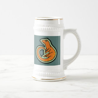 Long Tail Orange Lizard With Spots Drawing Design Beer Stein