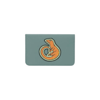 Long Tail Orange Lizard With Spots Drawing Design Business Card Holder