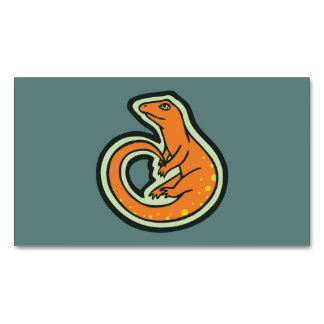 Long Tail Orange Lizard With Spots Drawing Design Business Card Magnet