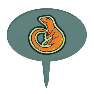 Long Tail Orange Lizard With Spots Drawing Design Cake Topper