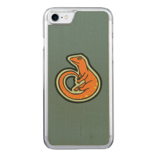 Long Tail Orange Lizard With Spots Drawing Design Carved iPhone 7 Case