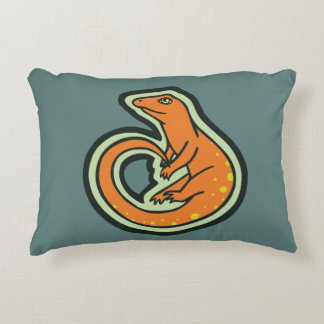 Long Tail Orange Lizard With Spots Drawing Design Decorative Pillow