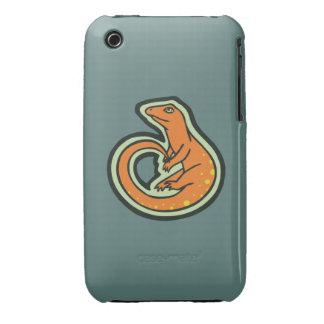 Long Tail Orange Lizard With Spots Drawing Design iPhone 3 Case-Mate Case
