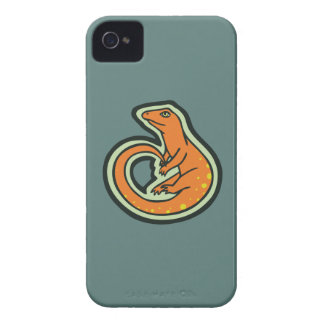 Long Tail Orange Lizard With Spots Drawing Design iPhone 4 Case