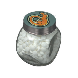 Long Tail Orange Lizard With Spots Drawing Design Jelly Belly Candy Jars
