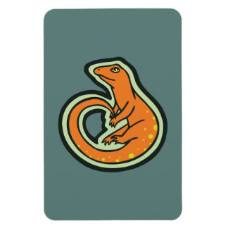 Long Tail Orange Lizard With Spots Drawing Design Magnet