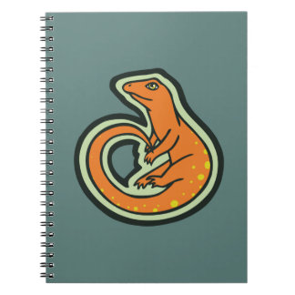 Long Tail Orange Lizard With Spots Drawing Design Notebook