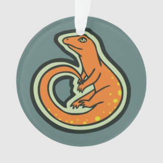 Long Tail Orange Lizard With Spots Drawing Design Ornament