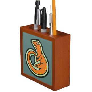 Long Tail Orange Lizard With Spots Drawing Design Pencil/Pen Holder