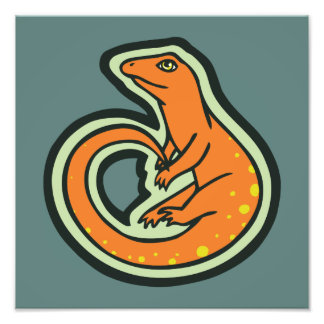 Long Tail Orange Lizard With Spots Drawing Design Photo Print
