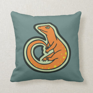 Long Tail Orange Lizard With Spots Drawing Design Pillow