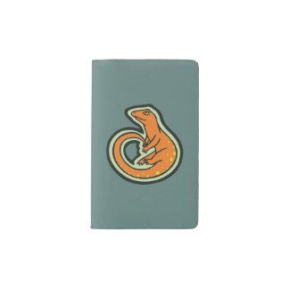 Long Tail Orange Lizard With Spots Drawing Design Pocket Moleskine Notebook