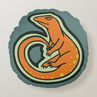 Long Tail Orange Lizard With Spots Drawing Design Round Pillow