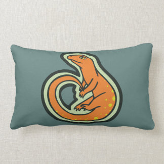 Long Tail Orange Lizard With Spots Drawing Design Throw Pillow
