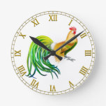 Long Tailed Phoenix Rooster Wall Clock
