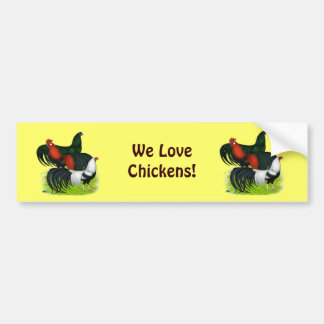 Long-tailed Rooster Trio Bumper Sticker