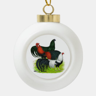 Long-tailed Rooster Trio Ceramic Ball Christmas Ornament