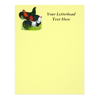 Long-tailed Rooster Trio Letterhead Design