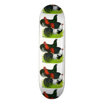 Long-tailed Rooster Trio Skateboard Deck