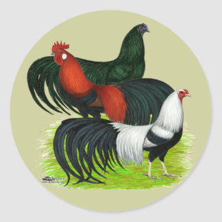 Long-tailed Rooster Trio Classic Round Sticker