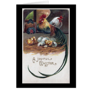 Long Tailed Rooster Vintage Easter Card
