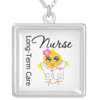 Long-Term Care Nurse Chick v2 Square Pendant Necklace