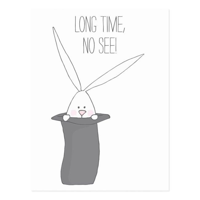 Long Time, No See! Cute Bunny in a Top Hat